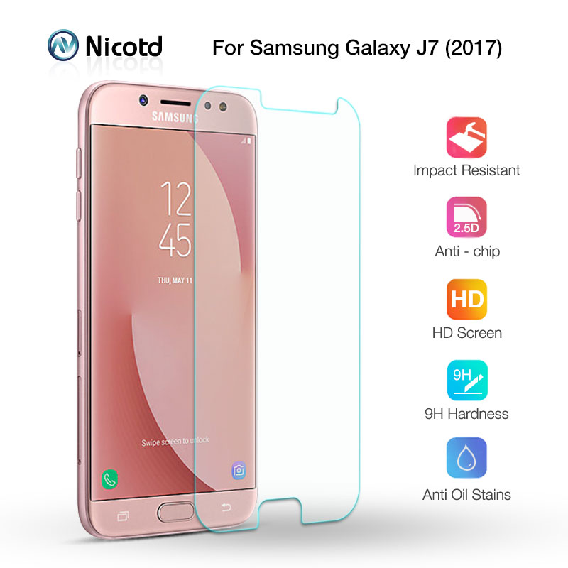 Nicotd Tempered Glass Screen Protective Film For Samsung Galaxy J7 2017 J730F/DS J730FM/DS 9H 2.5D Glass Screen Protector FilmNicotd Tempered Glass Screen Protective Film For Samsung Galaxy J7 2017 J730F/DS J730FM/DS 9H 2.5D Glass Screen Protector Film