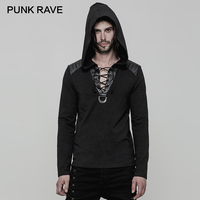PUNK RAVE Punk Black PU Leather Shoulder Long Sleeve Casual Men Hoodies Corn Wear Rope Large V Collar Knitted Rock Sweatshirts