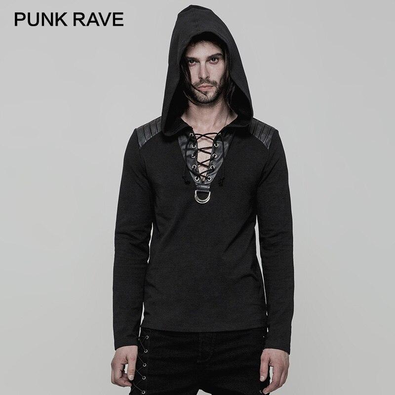 PUNK RAVE Punk czarny PU skóra na ramię z długim rękawem na co dzień mężczyźni bluzy z kapturem kukurydzy zużycie liny duże V kołnierz z dzianiny Rock bluzy w Bluzy z kapturem i bluzy od Odzież męska na  Grupa 1