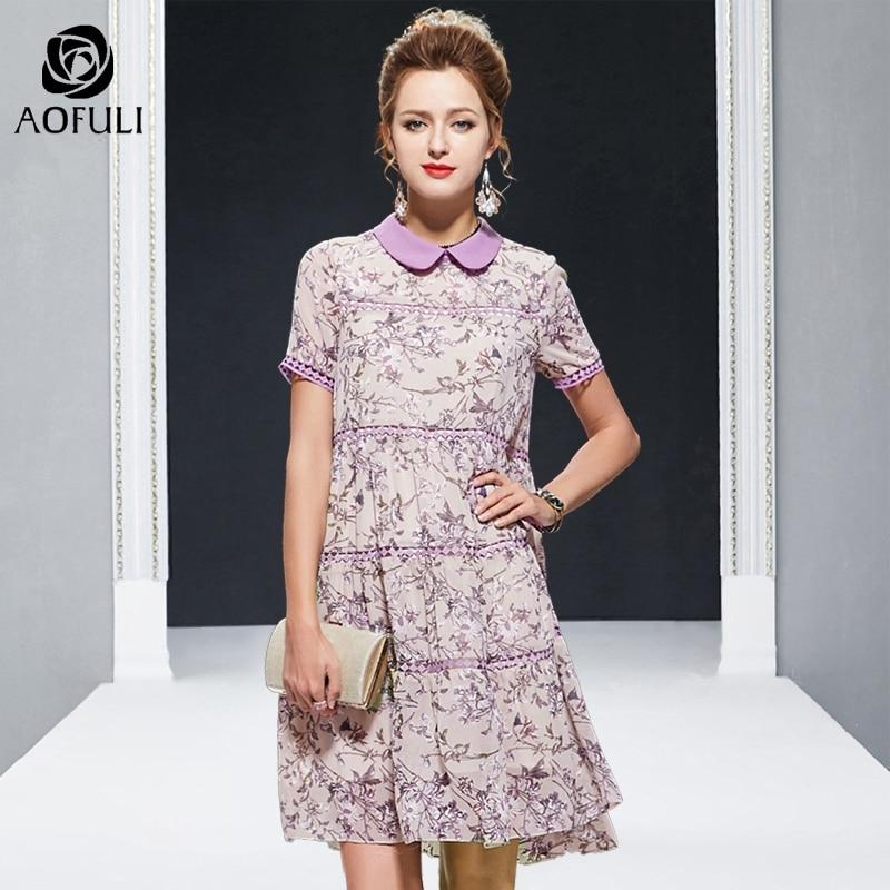 AOFULI L 4XL 5XL Purple floral lace stitching dress big size summer peter pan collar hollow