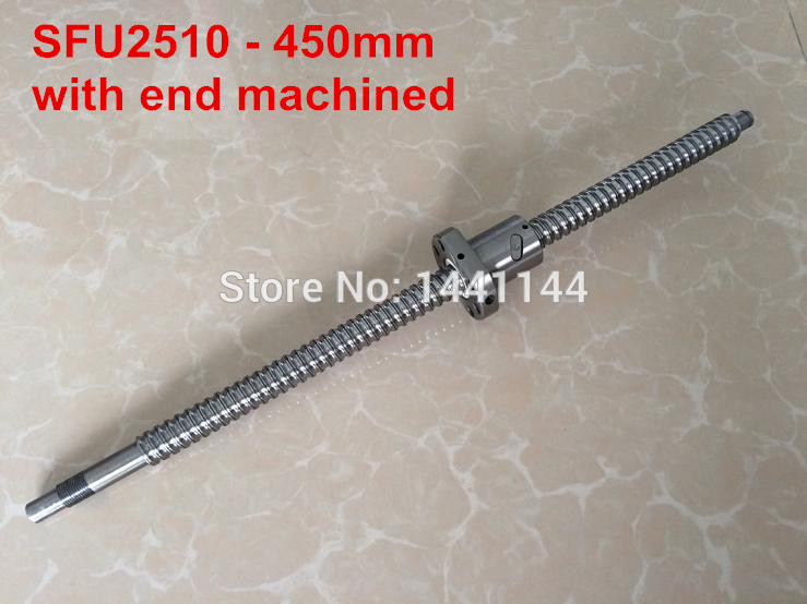 SFU2510- 450mm ballscrew with ball nut with BK20/BF20 end machined sfu2510 1200mm ballscrew ball nut with end machined bk20 bf20 support