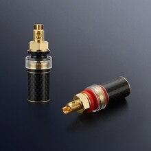 Free shipping 4pcs Viborg BP604G Pure Copper Carbon fiber Gold Plated Binding post Speaker Terminal hifi speaker amp