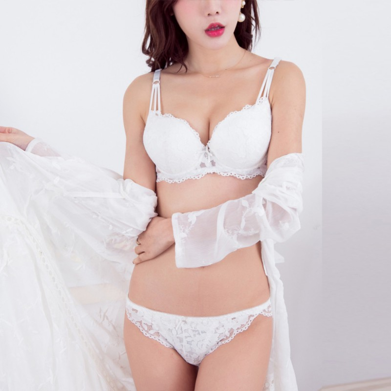 New Arrival Bra Set Sexy Lace Women Underwear Deep V Push Up Intimates Lingerie 2 Hook And Eye Bra Brief Sets in Bra Brief Sets from Underwear Sleepwears