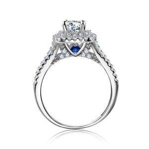 Image 3 - Newshe 2 Pcs מוצק 925 כסף סטרלינג נשים של חתונה טבעת סטים ויקטוריאני סגנון כחול צד אבנים קלאסי תכשיטי עבור נשים