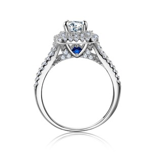 Image 3 - Newshe 2 Pcs Solide 925 Sterling Silber frauen Hochzeit Ring Sets Viktorianischen Stil Blau Seite Steine Klassische Schmuck Für frauen