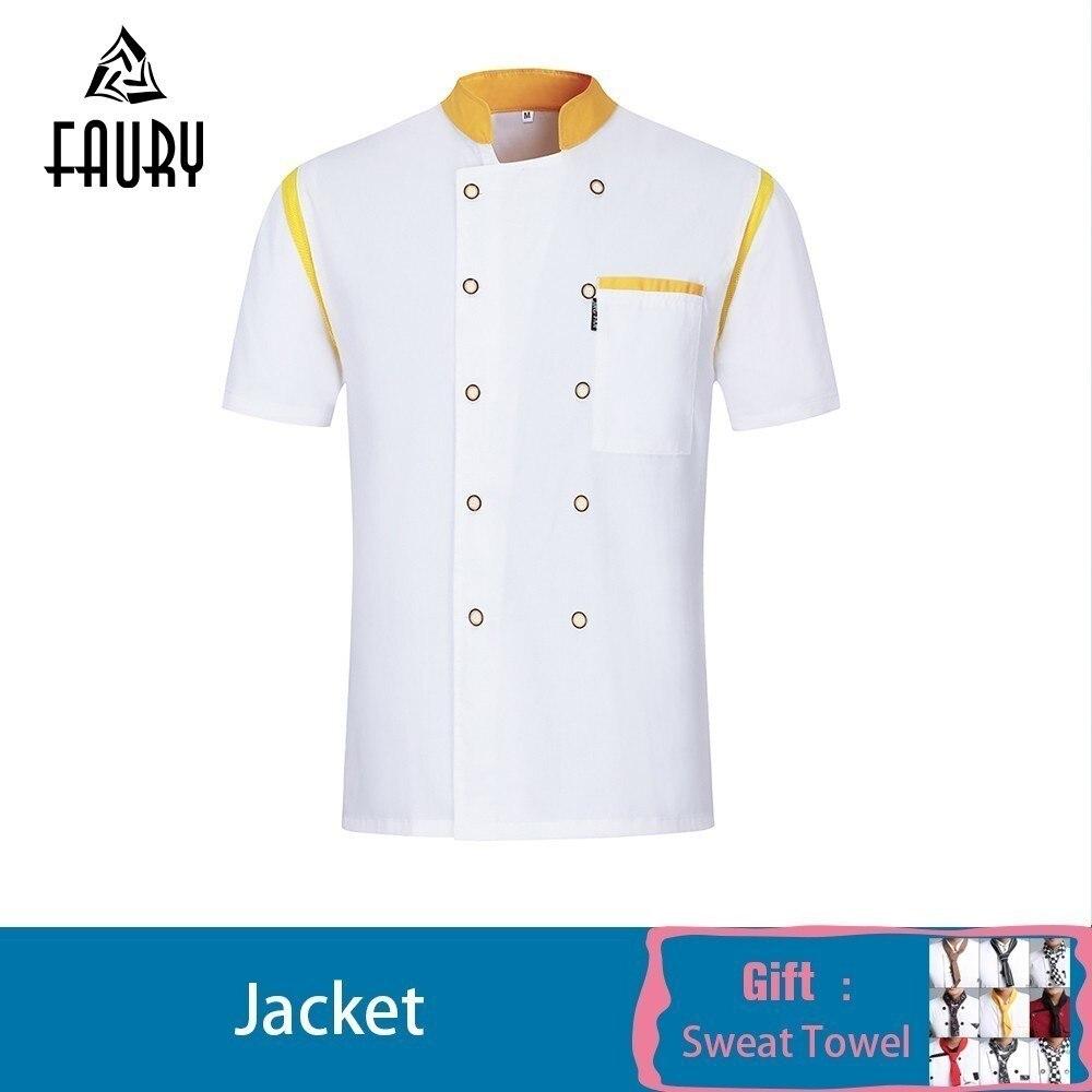 Chef Jacket Restaurant Shirt Breathable Patchwork Waiter Uniform Cool Summer Mesh Barber Work Clothes Costume Wholesale Put Name