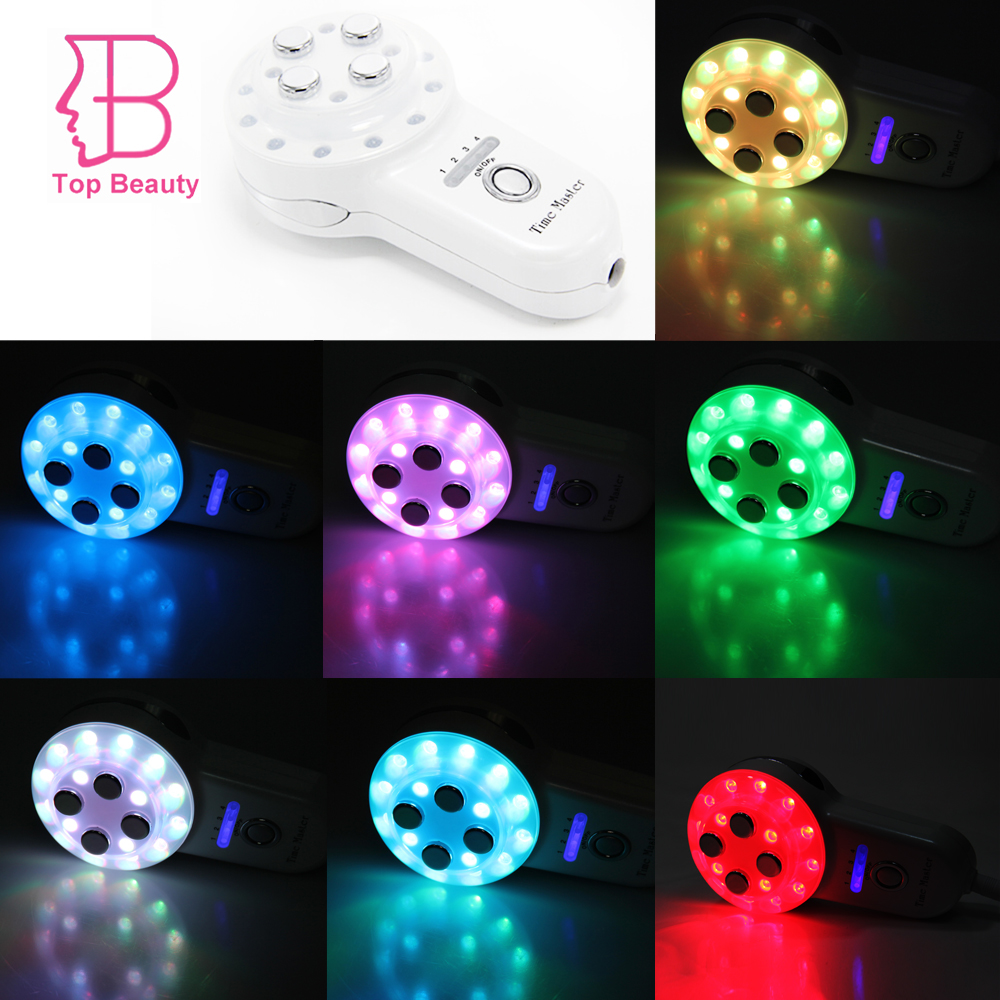 ФОТО TOP BEAUTY 7 Colors LED Photo-rejuvenation Time Master Mini Radio Frequency RF 4-1 Electroporation Led Microcurrent Massager