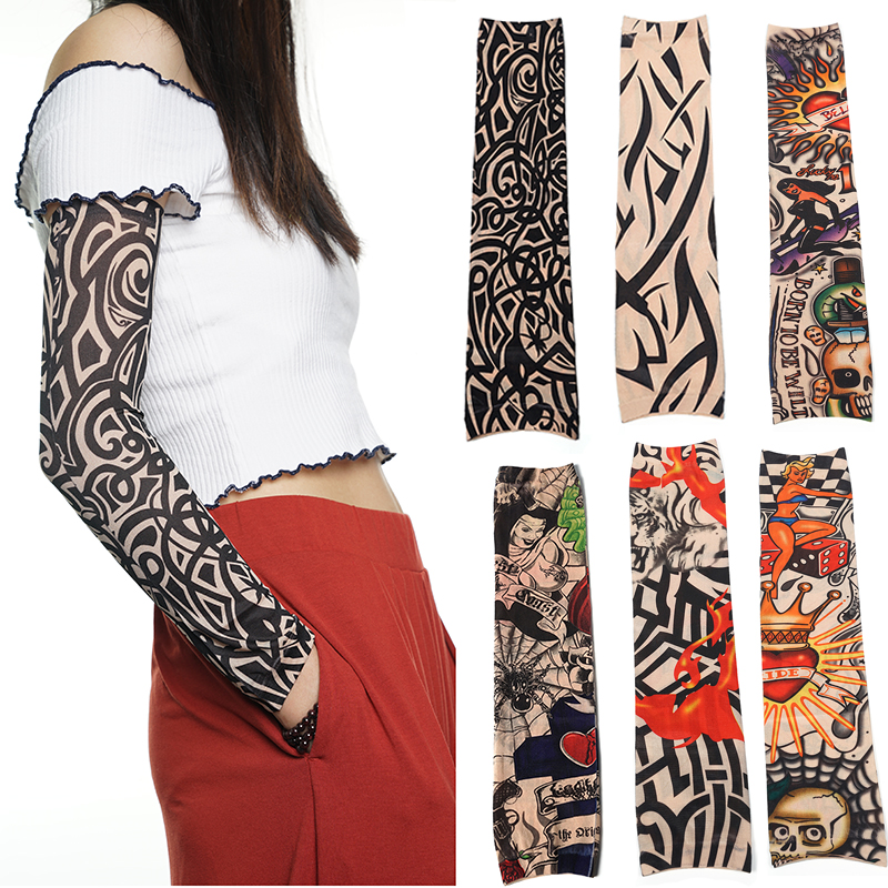 6Pcs Breathable Arm Sleeve Sun Protection Tattoo Cuff Quick-dry Running Cycling Arm Warmers Bicycle Golf Sports Oversleeves