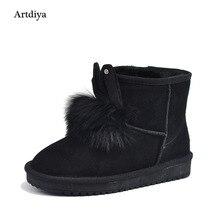 Artdiya Новинка 2017 года зимние ботинки Удобная обувь кожаные ботильоны кашемир Кролик уши теплой Сапоги и ботинки для девочек 2808