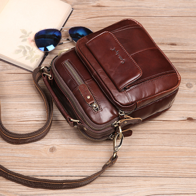 Cobbler Legend Men's Genuine Leather Bag Shoulder Bag New Crossbody Bags for Men Small Men's Business Messenger Bag Vintage