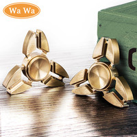 Tri-Spinner Fidget Toy Copper EDC Hand Spinner For Autism and ADHD Rotation Time Long Anti Stress Toy Professional Hand Spinner