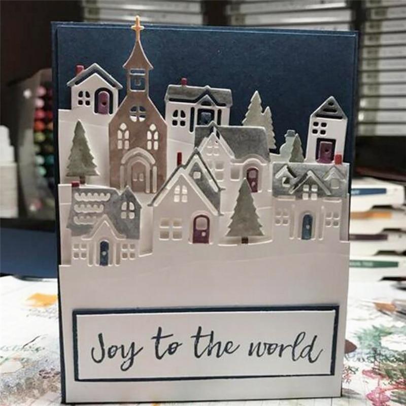 Трафарет для скрапбукинга Abulm для рождественского дома, жилой район, металлические режущие штампы, серебряная трафаретная Фотокарта