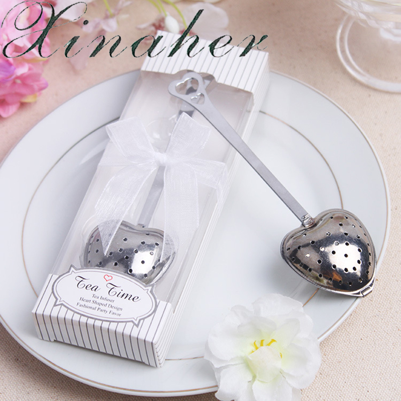 Xinaher 5boxeslot Wedding Favors Silver Elegant Tea Strainer Party
