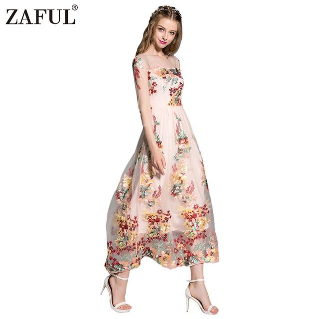 1c2c31673 Kenancy Woman Runway Dress Vintage Gauze Floral Heavy Embroidery Nude Mash  Sheer Longsleeve Maxi Dress Party Female Vestido