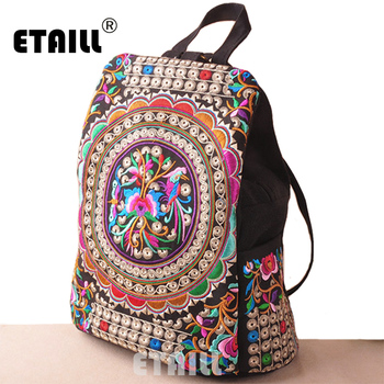 National Embroidery Luxury Brand Logo Backpack Ethnic Cotton Boho Indian Embroidered Floral Travel Rucksack Bag Sac a Dos Femme embroidery