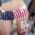 Mujeres Sexy jeans pantalones cortos de mezclilla 2017 Verano de algodón de Moda las barras y estrellas de América shorts Ladies jeans Ajustados pantalones cortos de Las Muchachas