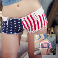 Womens Sexy jeans denim shorts 2017 Summer Fashion cotton America stars and stripes shorts Ladies Skinny jeans short pants Girls