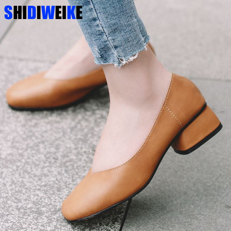 2019 new arrive women pumps High-quality Soft leather square toe fashion single shoes big size 34-40 N700