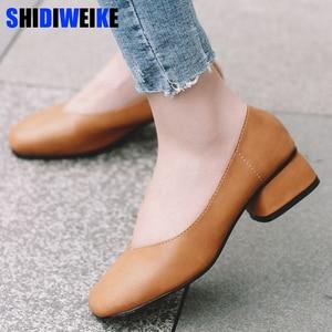 Image 1 - 2020 new arrive women pumps High quality Soft leather square toe fashion single shoes big size 34 40 N700