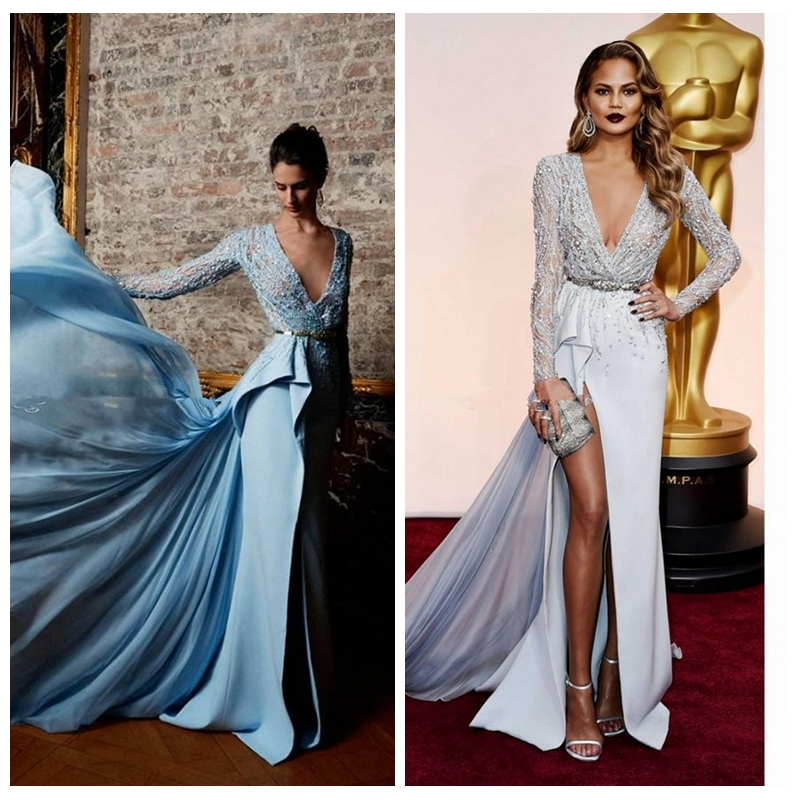 2019 Sexy Split Evening Dresses Long Sleeved Plunging Side Slit Embellished Beading Vestidos De Festa Prom Celebrity Dress
