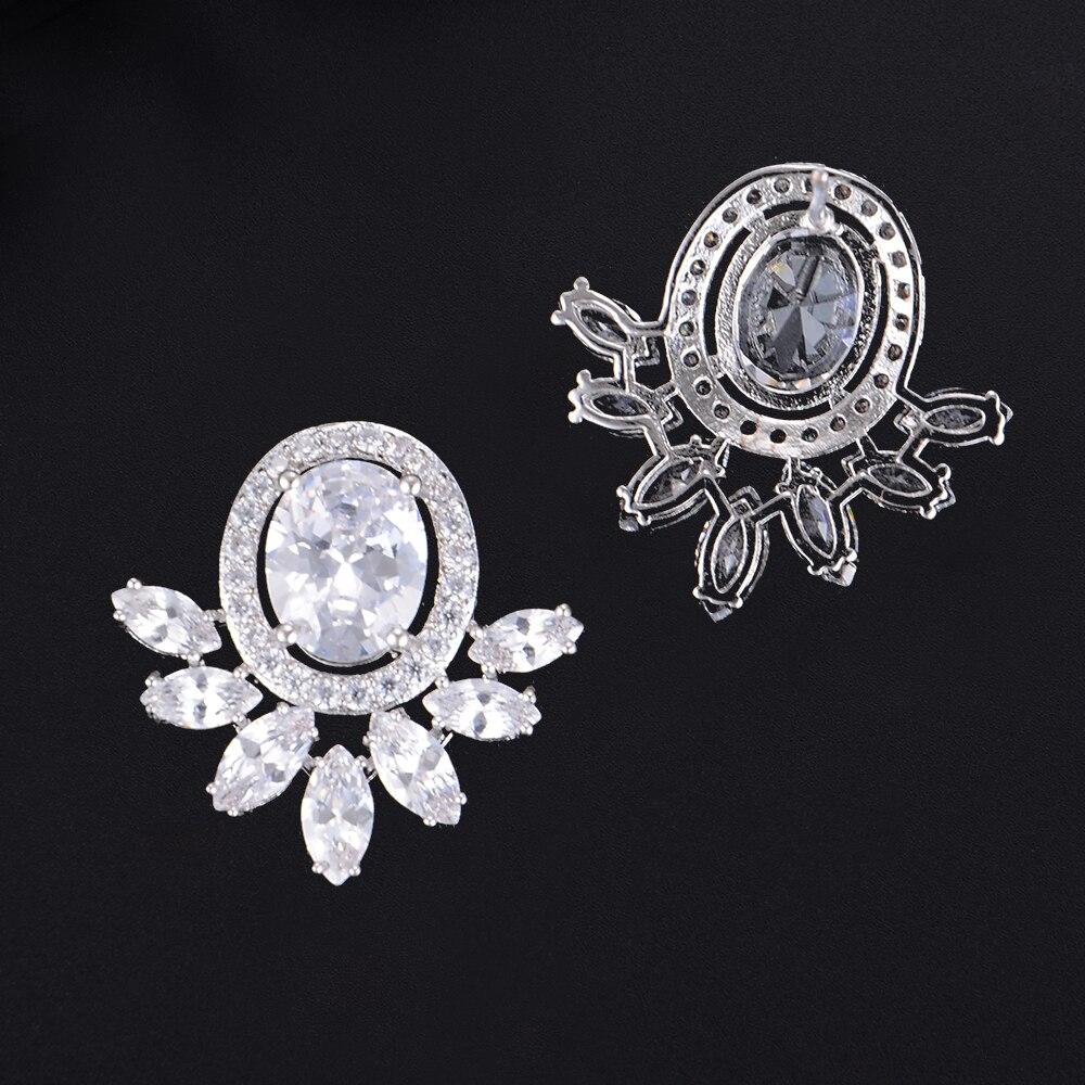 SISCATHY Trendy Full Micro Cubic Zirconia Stud Earrings For Women Geometric Wedding Bridal Party Ear Jewerlry Earrings in Stud Earrings from Jewelry Accessories