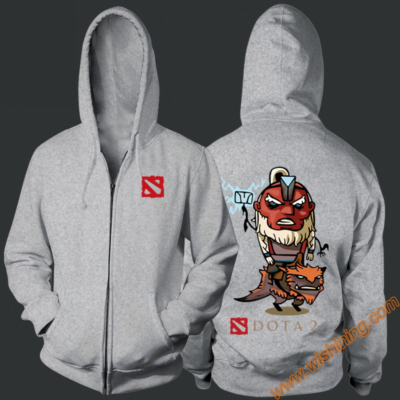 DOTA 2 Disruptor Hoodies DOTA 2 Hero Gray 3xl Large Size Hoodie DOTA2 Full Zipper Hooded Sweatshirts Wishining