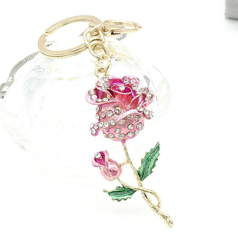 Кольцо для ключей кошелек сумка Украшенные стразами CZ брелок для ключей Шарм Подвеска подарок цветок g218