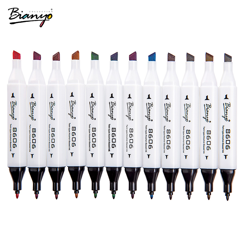 Bianyo Double Head 72 Colors Art Markers Drawing Manga marker School Supplies Sketch Whiteboard Pen Watercolor Markers dainayw 12 cool grey colors marker pen grayscale dual head art markers set for manga design drawing school student supplies