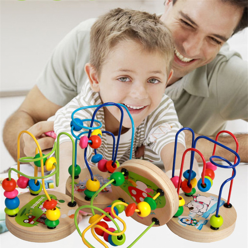 Mini Math Toys Maze Roller Coaster Counting Circles Bead Wire Early Educational Cartoon Animals Wooden Toy For Chilrden Kid Baby