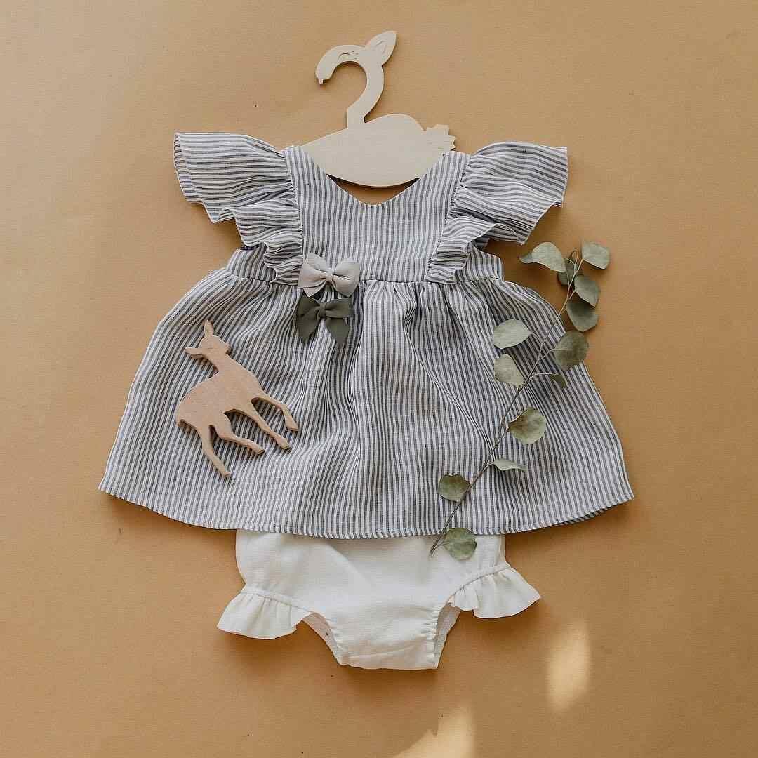 2 個新生児女の子ストライプトップスドレスショートパンツブリーフ衣装服夏の服ノースリーブストラップ花