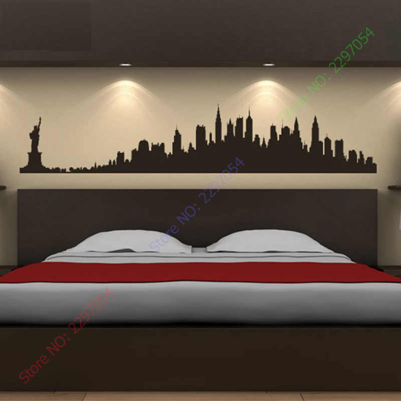 New York City Skyline Wall Stickers America USA Places Wall Art Decal  Transfers Custom Made Color 4 sizes can be chosen