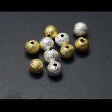 100pcs/lot Gold Round Copper Spacer Beads 4 6 8 10 12mm Frosted Ball End Seed Beads For Necklace Bracelet Jewelry Making