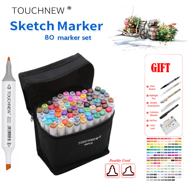 TOUCHNEW SIX 80 Colors Dual Head Art Marker Pen Set,Alcohol Pen Sketch Marker Pen for Artist Drawing Manga Design Art Supplier touchnew 80 colors artist dual headed marker set animation manga design school drawing sketch marker pen black body