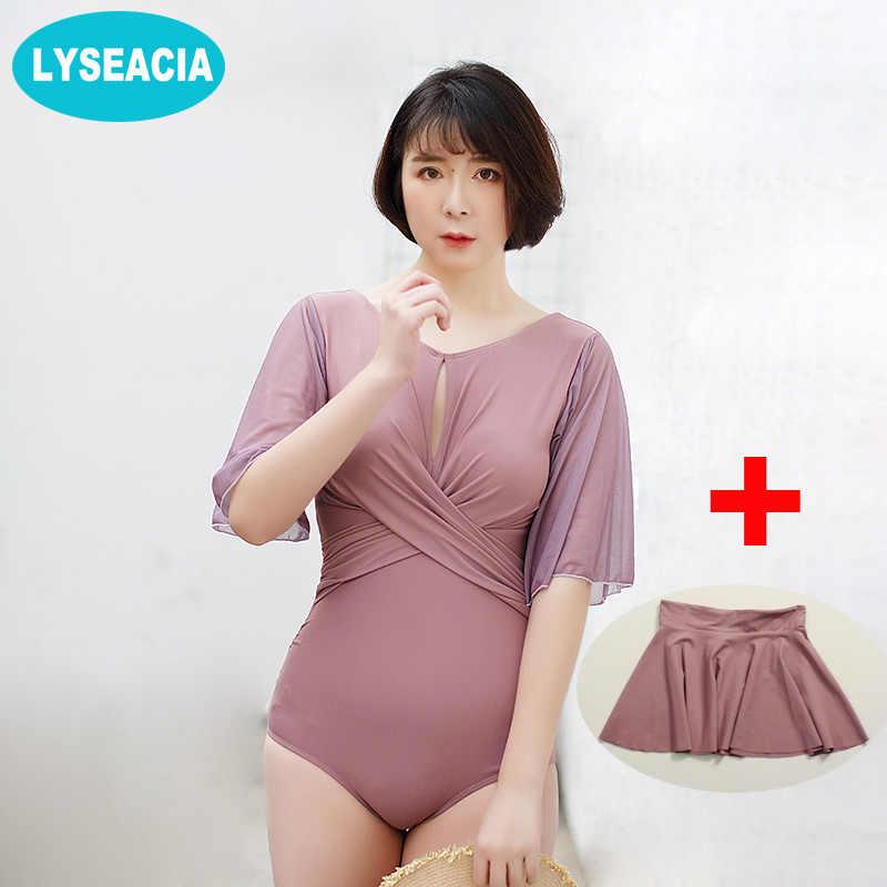 2b87941c04 Big Women One Piece Swimsuit Stretch Mesh Plus Size Swimwear Half Sleeve  Bodysuit Solid Monokini Bathing