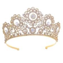 Big European Bride Wedding Gold Silver Color Crown Austrian Crystal Large Queen Crown Wedding Hair Jewelry