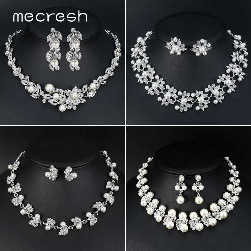 Mecresh Luxury Simulated Pearl Leaf Bride Wedding Jewelry Set Silver Color Crystal Bridal Necklace Earrings Sets for Women TL533