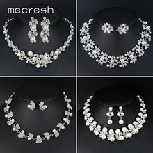 Mecresh Luxury Simulated Pearl Leaf Bride Wedding Jewelry Set Silver Color Crystal Bridal Necklace Earrings Sets for Women TL533(China)