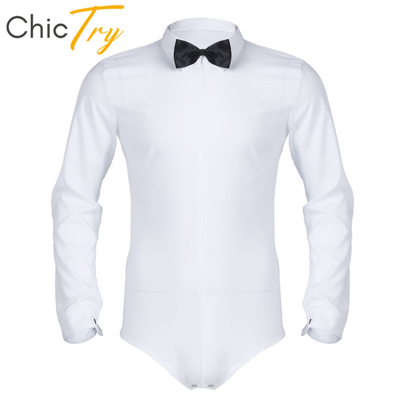ChicTry Men Black/White Long Sleeve Zippered Modern Latin Dance Leotard Shirt With Bowtie Romper Shirt Adult Stage Dance Costume