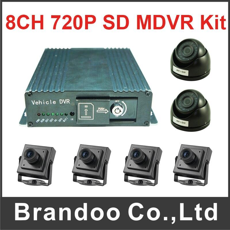 8CH 720P SD MDVR Kit Mobile Car DVR Kit Including 6pcs Car Camera For Bus Truck Van Large Vehicle Used 8CH AHD DVR Kit