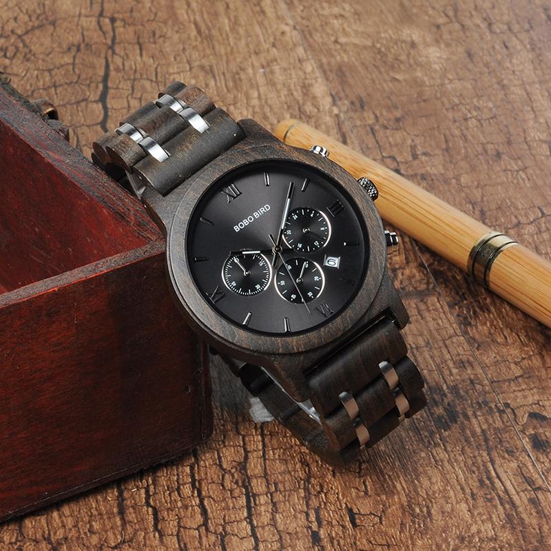 Relojes de Madera con Banda Metálica 12