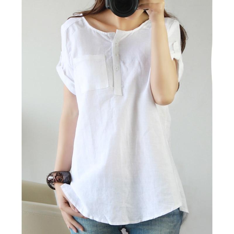 White Shirt 2017 Summer Short Sleeve Top Women Linen