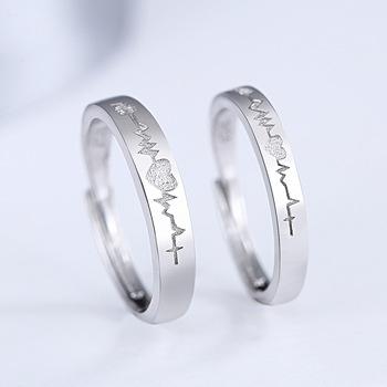 1 para 925 srebro pierścionki dla par dla kobiet mężczyzn romantyczne regulowane pierścionki dla zakochanych bague femme pierścionki dla par engament tanie i dobre opinie Moda SILVER Śliczne Romantyczny Zaręczyny DML-R-K354 Zespoły weselne Kobiety ROUND Cyrkonia