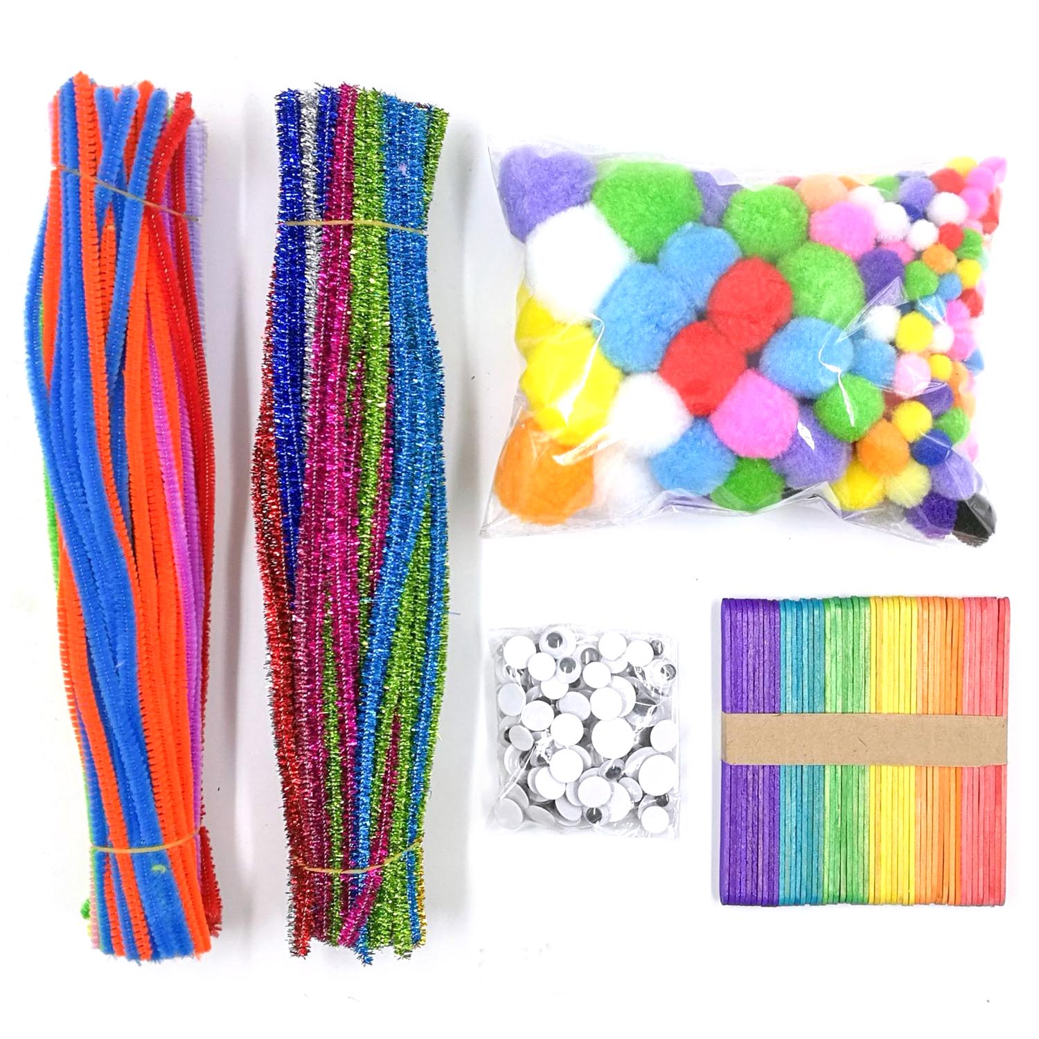 Kid 600pcs/1set Fluffy Glitter Chenille Stem Sticks Pipe Cleaner Wiggle Googly Eyes Pom Poms Ball Wooden Popsicle Stick DIY Toy