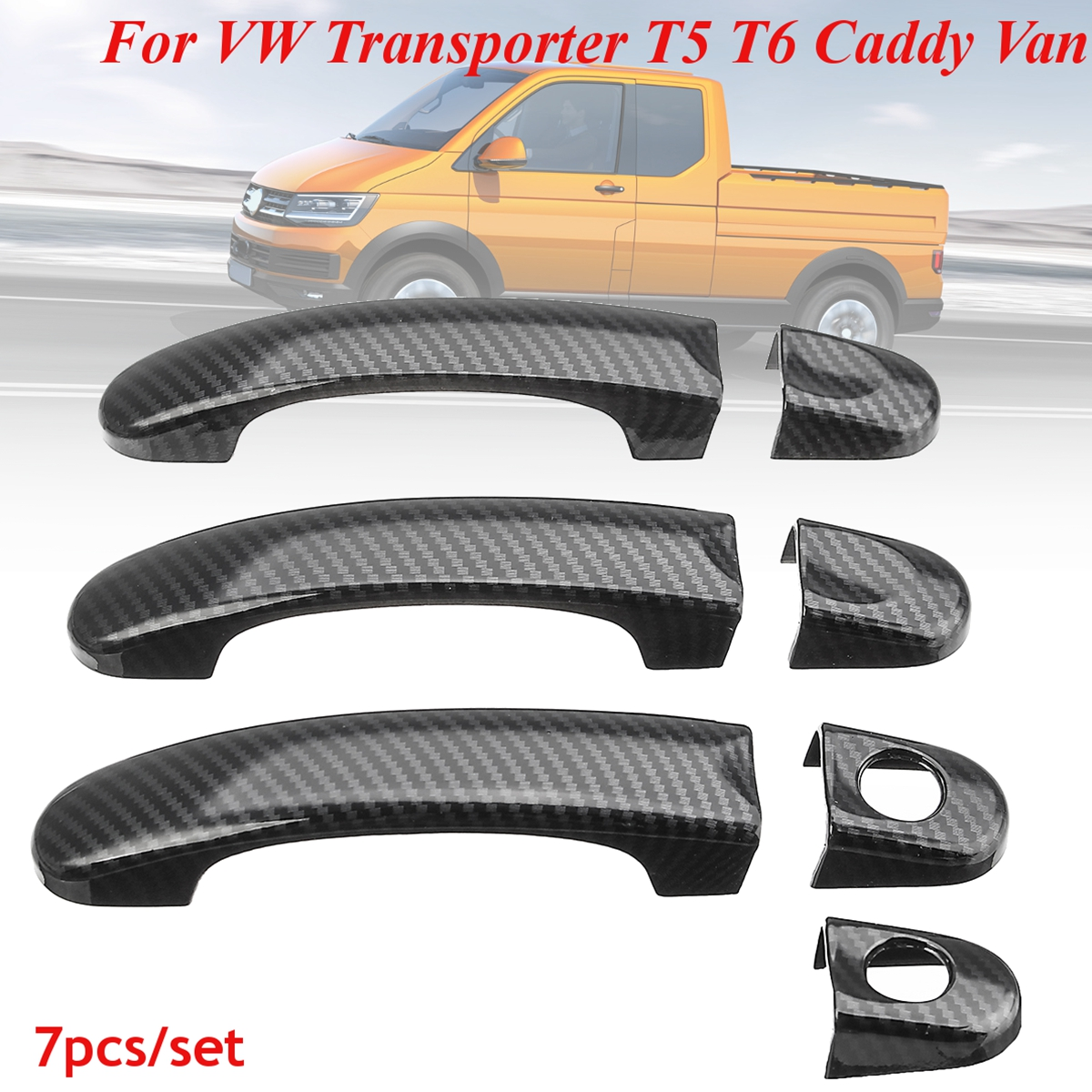 7pcs Door Handle Covers Carbon Fiber For <font><b>VW</b></font> For <font><b>VW</b></font> Transporter <font><b>T5</b></font> T6 Caddy for Vans 2004 05 06 07 08 09 10 11 12 13 14 15+ image