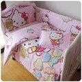 Kit cama de bebê 100% de cama de algodão em torno de pedaço berço definir o fundamento do bebê recém-nascido berço cama frete grátis