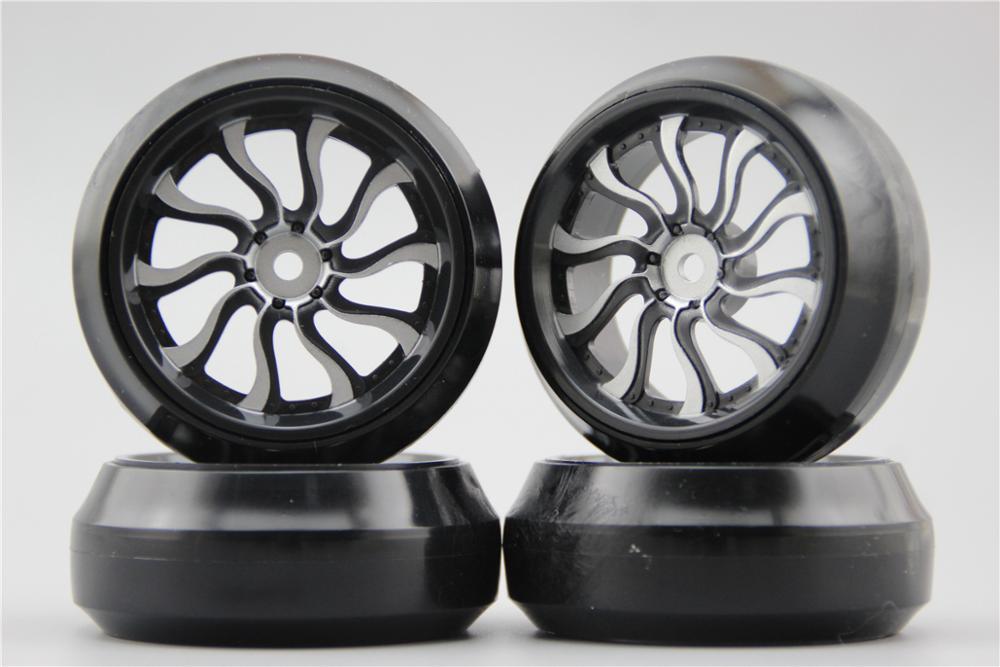 Fits For 1:10 Drift Car Large Assortment Adroit 4pcs Rc 1/10 Hard Drift Tire Tyre Wheel Rim Waves 0mm Offset painting Silver