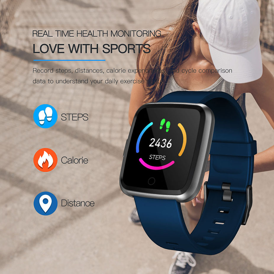 GIAUSA Smart watch IP67 Waterproof Fitness Tracker Heart Rate Monitor Blood Pressure Women men Clock Smartwatch For Android IOS in Smart Watches from Consumer Electronics