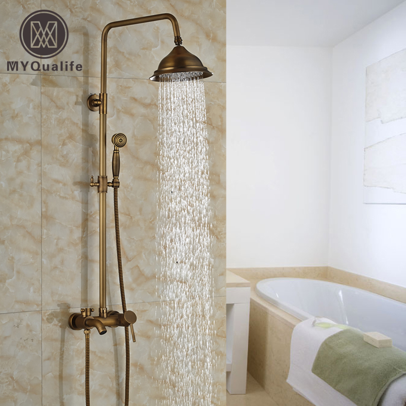 Wall Mount 8 Rainfall Adjust Height Shower Faucet Set Single Handle Brass Handshower Tub Shower Mixer Taps