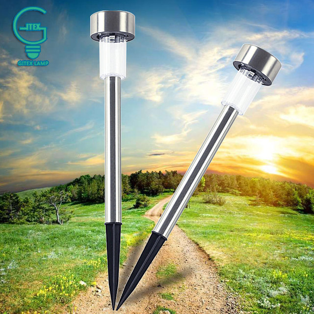 10pieces Garden Decorative Outdoor Light Solar Panel Spike Street Lamp Lawn For Landscape Path Yard Pathway