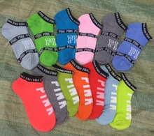 wholesale pink mix random color(not can choose) vs love pink letters socks for football sport